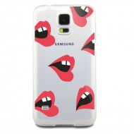 Coque lèvres lips transparente silicone tpu gel rouge souple samsung galaxy s5