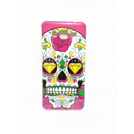 Coque de protection tête de mort rose et diamant samsung galaxy grand prime